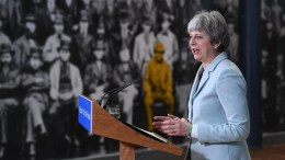 British Prime Minister Theresa May delivers a speech to students and staff during her visit to Derby College in Derby, East Midlands, Britain, 19 February 2018. EPA, FACUNDO ARRIZABALAGA