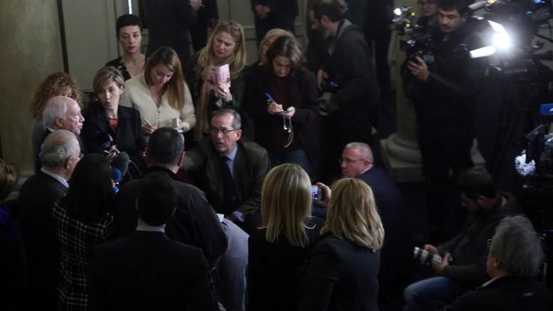 Ο ειδικός μεσολαβητής του ΟΗΕ Μάθιου Νίμιτς κάνει δηλώσεις στον Τύπο μετά τη συνάντηση του με τον υπουργό Εξωτερικών Νίκο Κοτζιά στο Υπουργείο Εξωτερικών, Αθήνα Τρίτη 30 Ιανουαρίου 2018. ΑΠΕ-ΜΠΕ,  ΟΡΕΣΤΗΣ ΠΑΝΑΓΙΩΤΟΥ