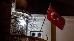 The Turkish flag flies at the Turkish embassy in Prague, Czech Republic, 25 February 2018. A prominent Syrian-Kurdish leader Sahim (Saleh) Muslim, the former co-chair of the Democratic Union Party (PYD), was arrested by Czech police upon Turkey's request late on February 24 in the Czech capital, according to a statement by a coalition of political parties that includes the PYD. EPA, MARTIN DIVISEK