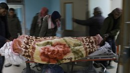 Palestinians transfer an injured young man to the european hospital in Rafah, southern Gaza Strip, 18 February 2018. Two Palestinians were injured early 18 February after Israeli war planes conducted air strikes on Hamas sites in the Gaza Strip, in response to an explosion on the Israeli-Gaza border which injured four Israeli soldiers. EPA, MOHAMMED SABER