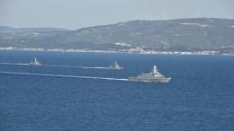 Τουρκικά πολεμικά σκάφη εν πλω. Φωτογραφία via Τουρκικό Ναυτικό.