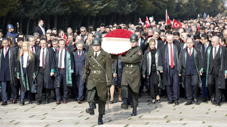 File Photo: Lawyers visit Anitkabir, the memorial tomb of Mustafa Kemal Ataturk, during a protest in Ankara, Turkey, 24 February 2018. The lawyers protested against the removal of the word 'Turkish' from Turkish Bar Associations in Turkey, called by President Recep Tayyip Erdogan after members of these Bar Associations criticized the operation in Afrin, Syria. EPA, TUMAY BERKIN