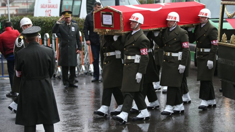 Flle Photo: Turkish soldiers carry the coffin of Koray Karaca, a Turkish soldier who was killed in a cross-border clashes with Kurdish Popular Protection Units (YPG) forces at Afrin, during a funeral ceremony in Istanbul, Turkey. EPA, ERDEM SAHIN
