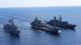 Τουρκικά πολεμικά πλοία κατά τη διάρκεια άσκησης. FILE PHOTO via Τουρκικό Ναυτικό