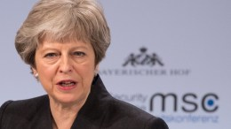 Britain's Prime Minister Theresa May speaks during the 54th Munich Security Conference (MSC), in Munich, Germany, 17 February 2018. In their annual meeting, politicians and various experts and guests from around the world discuss global security issues from 16 to 18 February. EPA, RONALD WITTEK