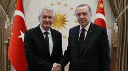 A handout photo made available by the Turkish Presidential Press Office shows Turkish President Recep Tayyip Erdogan (R) shaking hands with Council of Europe's Secretary General Thorbjorn Jagland (L) during their meeting in Ankara, Turkey, 15 February 2018. EPA, TURKISH PRESIDENTAL PRESS OFFICE HANDOUT HANDOUT EDITORIAL USE ONLY, NO SALES