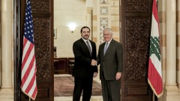 US Secretary of State Rex Tillerson (L) shakes hands with Lebanese Prime Minister Saad Hariri (R) at the government palace in Beirut, Lebanon 15 February 2018. EPA, NABIL MOUNZER