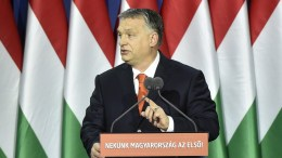 Hungarian Prime Minister Viktor Orban delivers his annual 'State of Hungary' speech in Budapest, Hungary, 18 February 2018. The inscription reads: 'For us Hungary is first! EPA, Zoltan Mathe HUNGARY OUT, FILE PHOTO