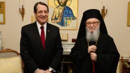 Ο Πρόεδρος της Κυπριακής Δημοκρατίας, Νίκος Αναστασιάδης και ο προκαθήμενος Αμερικής Δημήτριος. Φωτογραφία Αρχείου.  DIMITRIOS PANAGOS, ΚΥΠΕ