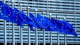 FILE PHOTO. European flags flutter in the wind in front of the European Commission in Brussels, Belgium. EPA, STEPHANIE LECOCQ