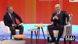 Ο Αλβανός πρωθυπουργός έθεσε πάλι θέμα Τσαμουριάς. Φωτογραφία αλβανική τηλεόραση.