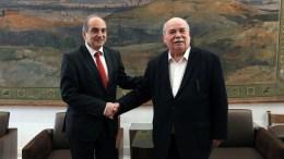 Ο πρόεδρος της Βουλής Νίκος Βούτσης (Δ) συναντήθηκε με τον πρόεδρο της Βουλής των Αντιπροσώπων της Κυπριακής Δημοκρατίας Δημήτρη Συλλούρη (Α), στη Βουλή Παρασκευή 09 Φεβρουαρίου 2018. ΑΠΕ-ΜΠΕ, ΓΡΑΦΕΙΟ ΤΥΠΟΥ ΒΟΥΛΗΣ, ΦΡΟΣΩ ΚΑΝΕΛΛΙΔΟΥ