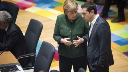 A handout photo made available by the German Federal Government showing Germany's Chancellor Angela Merkel (L) talking to Greece's Prime Minister Alexis Tsipras during a European Union leaders summit in Brussels, Belgium. File Photo, EPA, GUIDO BERGMANN, GERMAN FEDERAL GOVERNMENT, HANDOUT