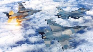 Ελληνικά Μαχητικά Αεροσκάφη στους ελληνικούς ουρανούς. Φωτογραφία Γενικό Επιτελείο Εθνικής Άμυνας