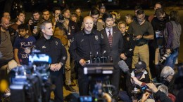 Assistant Chief Ely Reyes (C) of the Austin Police Department speaks during a press conference about an incident at a Goodwill location in which an artillery simulator went off and injured an employee, in Austin, Texas, USA,EPA,THAO NGUYEN