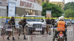 FILE PHOTO.  Burkina Faso security forces secure the area around the scene of an attack. EPA, STR