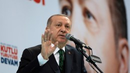 File Photo: A handout photo made available by the Turkish Presidential Press Office shows Turkish President Recep Tayyip Erdogan speaks during the 6th ordinary provincial congress of the Justice and Development Party (AKP) in Kahramanmaras, Turkey, 24 February 2018. EPA, TURKISH PRESIDENTAL PRESS OFFICE