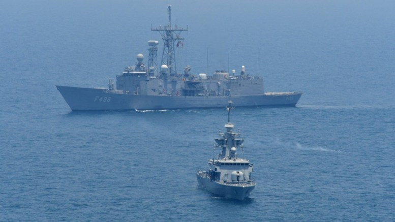 File Photo: A handout photo made available by Turkish Armed Forces Press Office shows a Turkish F496 Gokova frigate (back). EPA, TURKISH ARMED FORCES HANDOUT HANDOUT EDITORIAL USE ONLY, NO SALES