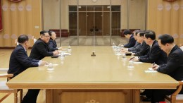 A photo released by the North Korean Central News Agency (KCNA), the state news agency of North Korea, shows North Korean leader Kim Jong-un (2-L) meeting with members of the South Korean delegation in Pyongyang, North Korea, 05 March 2018 (issued 06 March 2018). EPA, KCNA EDITORIAL USE ONLY