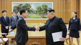 File Photo: A handout photo made available by the South Korean Presidential Office Cheong Wa Dae shows North Korean leader Kim Jong-un (front, R) shaking hands with Chung Eui-yong (front, L), the head of the South Korean presidential National Security Office, after their meeting at Kobangsan Guesthouse in Pyongyang, North Korea, 05 March 2018 (issued 06 March 2018). The ten-member South Korean delegation, led by Chung, met North Korean leader Kim Jong-un on the same day after arriving in the North Korean capital on a mission to broker denuclearization talks between the North and the United States. EPA/SOUTH KOREAN PRESIDENTIAL OFFICE HANDOUT HANDOUT EDITORIAL USE ONLY/NO SALES