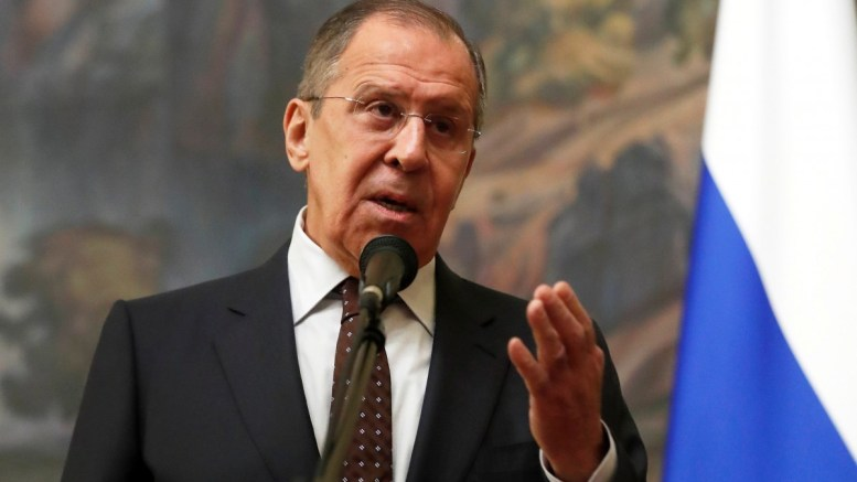 Russian Foreign Minister Sergei Lavrov makes a statement in Moscow, Russia, 13 March 2018. EPA, SERGEI CHIRIKOV