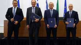 File Photo: Cypriot Minister of Energy, Yiorgos Lakkotrypis (R-L), Greek Minister of Environment, Energy and Climate Change Georges Stathakis, Israeli Minister of Energy and Water Resources Yuval Steinitz and Ambassador of Italy Andrea Cavallari after they signed a memorandum on EastMed pipeline in Nicosia, Cyprus. EPA, KATIA CHRISTODOULOU
