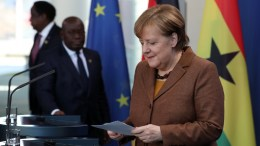 FILE PHOTO.  German Chancellor Angela Merkel (R) and the President of the Republic of Ghana, Nana Addo Dankwa arrive for a joint press conference following their meeting at the chancellery in Berlin, Germany. EPA, FELIPE TRUEBA