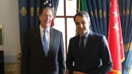 Φωτογραφία από τη συνάντηση του Κ. Μητσοτάκη με τον αναπληρωτή υπουργό Οικονομικών, Ντέιβιντ Μάλπας. ΑΠΕ-ΜΠΕ