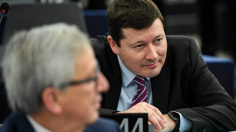 Martin Selmayr (R), Secretary-General of the European Commission and Jean-Claude Juncker (L), President of the European Commission, at the European Parliament in Strasbourg, France, 13 March 2018. MEPs will debate the Guidelines on the framework of future EU-UK relations. EPA, PATRICK SEEGER