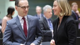 Germany's new Foreign Minister Heiko Maas (L) and the EU High representative for foreign policy, Federica Mogherini, chat prior to the start of a EU Foreign affairs ministers council meeting, in Brussels, Belgium, 19 March 2018. EPA, OLIVIER HOSLET