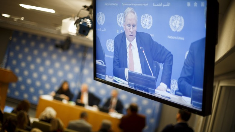 FILE PHOTO. Ambassador Karel van Oosterom, Permanent Representative of the Netherlands to the United Nations and President of the United Nations Security Council for the month of March, is seen on a screen. EPA, JUSTIN LANE
