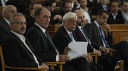 Ο ΠτΔ Προκόπης Παυλόπουλος (3Δ), ο πρόεδρος της ΝΔ, Κυριάκος Μητσοτάκης (Δ), ο υπουργός Περιβάλλοντος και Ενέργειας Γιώργος Σταθάκης (2Α) και ο πρόεδρος του ΤΕΕ Γιώργος Στασινός (2Δ)  στην αναπτυξιακή πρωτοβουλία του ΤΕΕ  με τίτλο: «ONEclickLIS - μια εθνική μεταρρύθμιση για το αύριο της χώρας», στην Παλαιά Βουλή, Τετάρτη, 21 Μαρτίου 2018. ΑΠΕ ΜΠΕ, ΑΛΕΞΑΝΔΡΟΣ ΒΛΑΧΟΣ