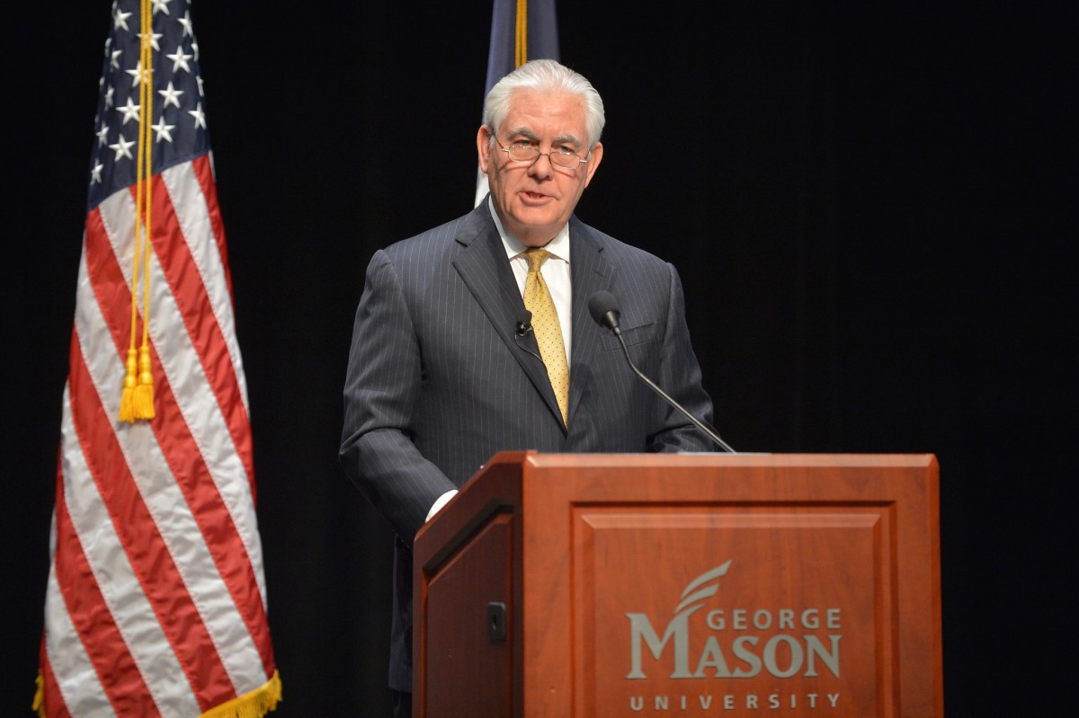 U.S. Secretary of State Rex delivers a speech outlining the United States' relationship with Africa, at George Mason University in Fairfax, Virginia on March 6, 2018. [State Department photo/ Public Domain]