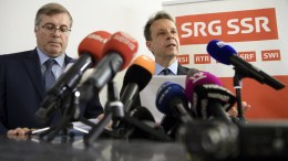Gilles Marchand (R), Managing Director of SRG SSR, speaks to journalists, next to Michel Cina (L), president SRG SSR, about the result of the vote on the result of the vote on the 'No Billag Initiative', in Bern, Switzerland, 04 March 2018. The initiative aims at abolishing Swiss television and radio licence fees. EPA,ANTHONY ANEX