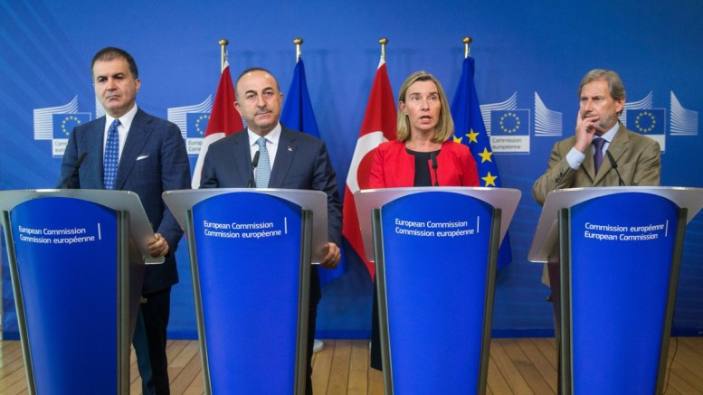 File Photo: Turkey's European Union Affairs Minister Omer Celik, Turkey's Foreign Minister Mevlut Cavusoglu, EU High Representative for Foreign Affairs and Security Policy, Federica Mogherini and European Commissioner for Enlargement Negotiations Johannes Hahn. EPA, STEPHANIE LECOCQ