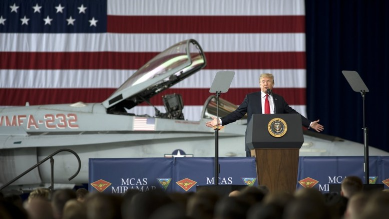 US President Donald J. Trump addresses members of the military at the Marine Corps Air Station Miramar in San Diego, California, USA, on 13 March 2018. It was US President Trump's first visit to California since being elected as president. EPA, David Maung