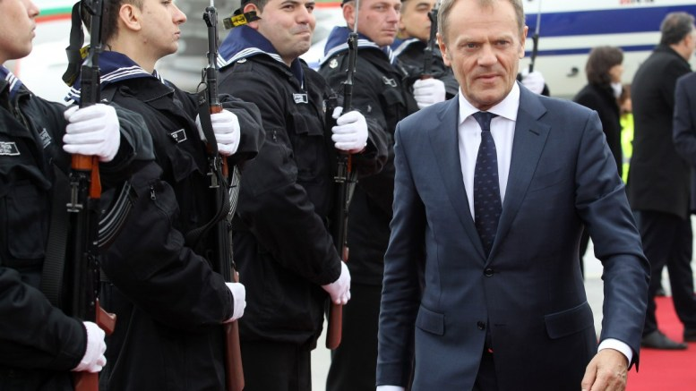 European Council President Donald Tusk (R) arriving at Varna Airport for the summit meeting between the leaders of the European Union (EU) and Turkey at the Evksinograd Residence in the town of Varna, Bulgaria, 26 March 2018. EPA, BULGARIAN GOVERNMENT PRESS OFFICE HANDOUT, EDITORIAL USE ONLY