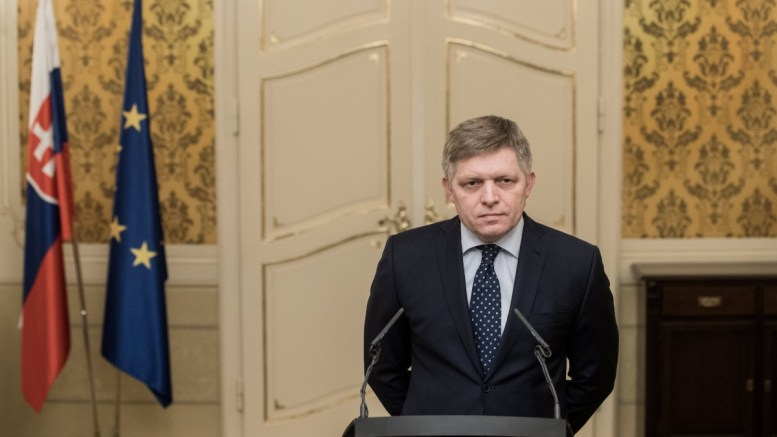 Slovakian Prime Minister Robert Fico speaks during the press conference on reactions to the first public statement of Slovakian president Andrej Kiska (not seen) on murder of journalist Jan Kuciak and his fiance Martina Kusnirova in Bratislava, Slovakia, 04 March 2018 (reissued 14 March 2018). According to media reports Fico has said he is prepared to resign if the president accepts that the current coalition can continue for the rest of its term without early elections. EPA.JAKUB GAVLAK
