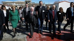 FILE PHOTO: President of Ireland Michael Higgins (C) visits the refugee camp of Eleonas in Athens, Greece, 24 February 2018. The Irish President is on a two-day official visit to Greece. EPA.SIMELA PANTZARTZI