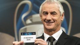 File Photo: Former Welsh soccer player Ian Rush and ambassador for the UEFA Champions League final in Cardiff, shows a ticket with Spanish soccer team FC Barcelona during the quarter-final draw of the UEFA Champions League 2016/17, at the UEFA headquarters in Nyon, Switzerland, 17 March 2017. FC Barcelona will face Juventus in the quarter-finals. EPA. JEAN-CHRISTOPHE BOTT