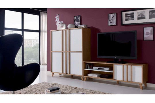 Meuble Tv Bas Moderne Blanc Ivoire Collection Mondrian