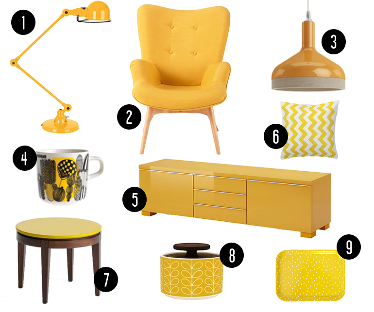 tendance un zeste de jaune dans la maison h ll blogzine. Black Bedroom Furniture Sets. Home Design Ideas