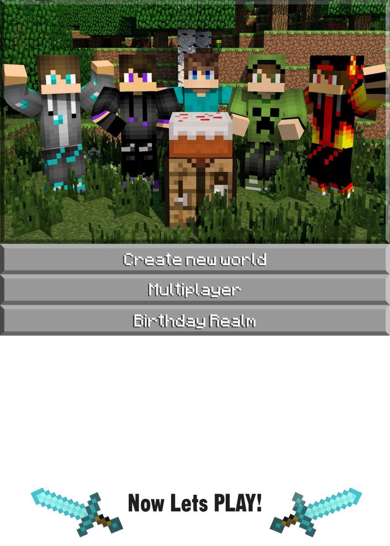 Large Of Minecraft Birthday Invitations