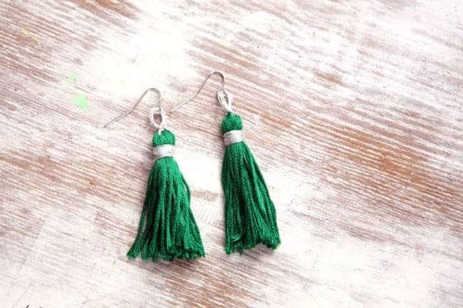 Emerald Tassel Earrings | Hello Glow