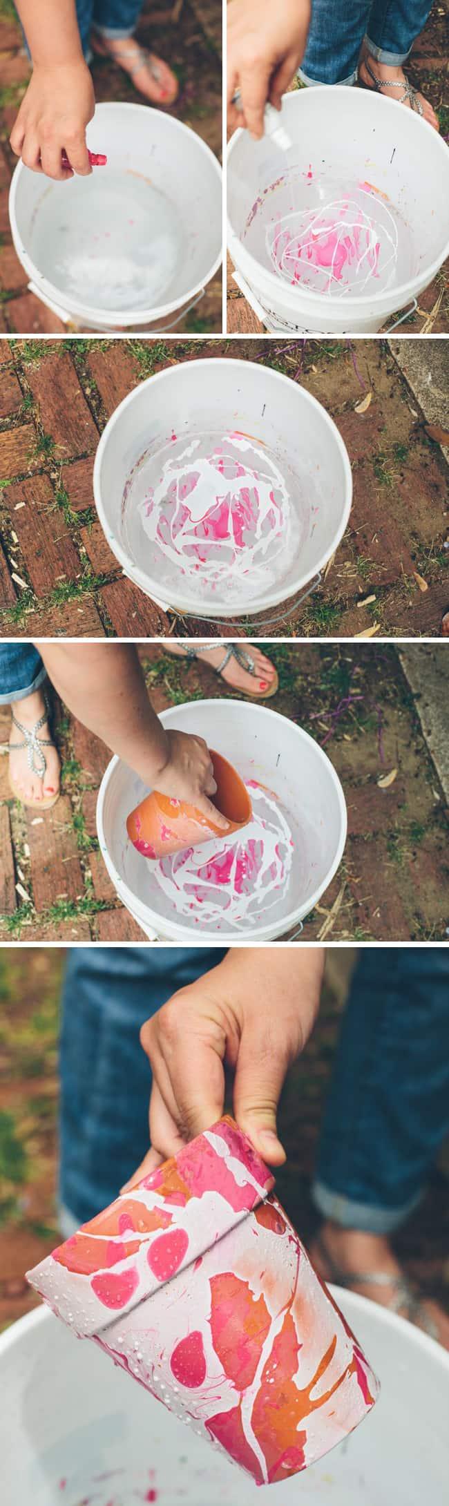 Nail Polish Marbled DIY Planters | HelloGlow.co
