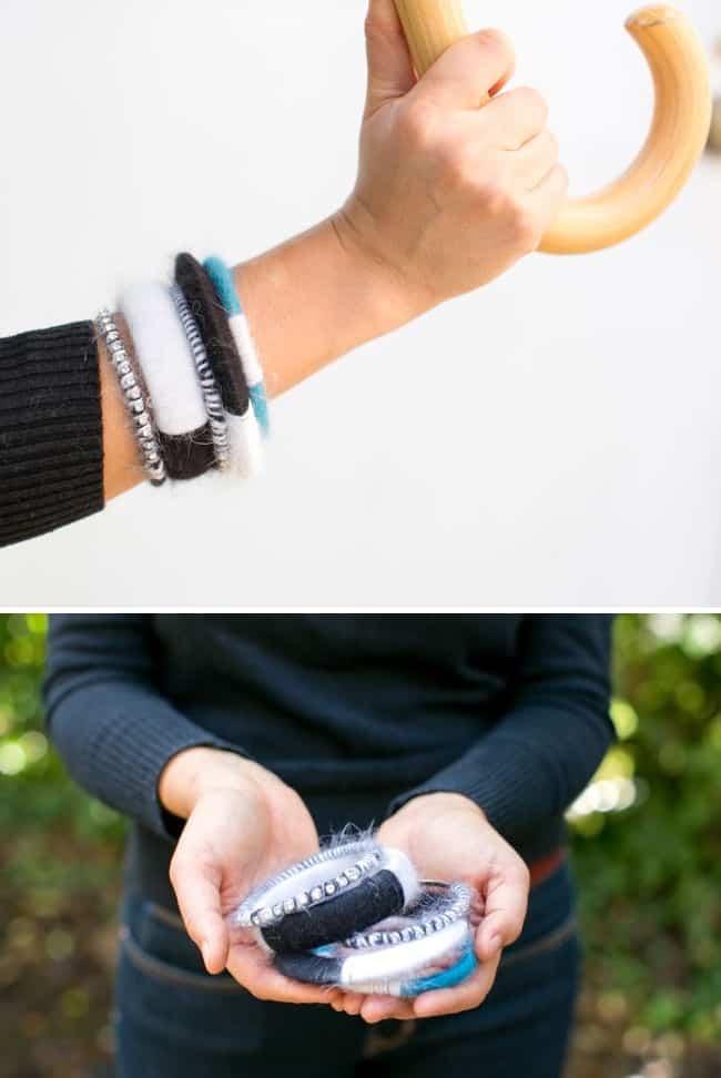 DIY Angora Wrapped Bracelets | Hello Glow