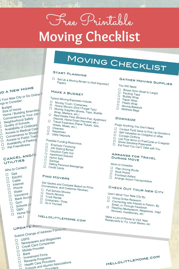 How to Plan a Big Move + Free Moving Checklist Hello Little Home - checklist for moving