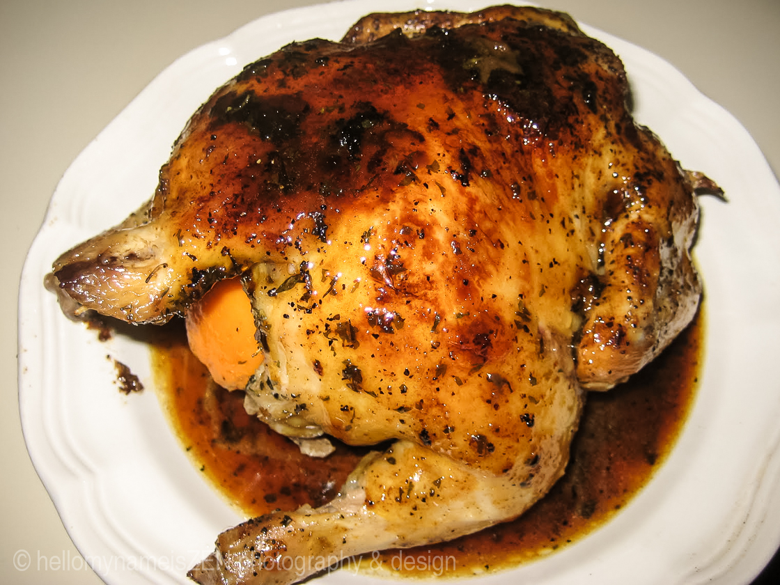 Cornish Game Hen with Garlic Orange and Whiskey Reduction