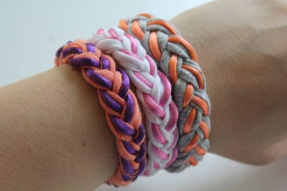 Braided T-Shirt DIY Bracelets | HelloNatural.co