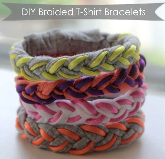 DIY Braided T-Shirt Bracelets | HelloNatural.co
